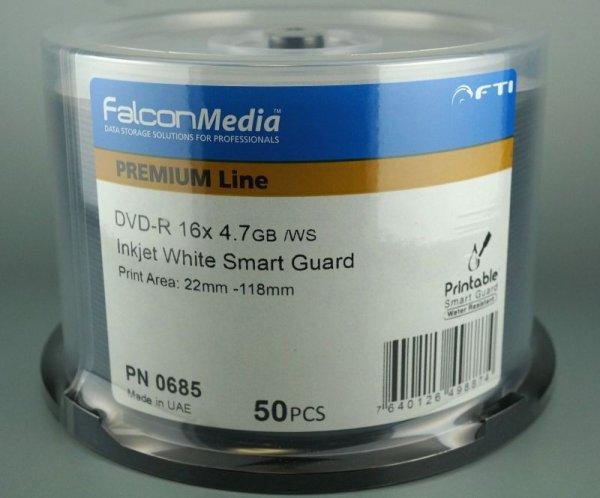 画像1: 【光沢/耐水】 【Falcon/ファルコン社製】 DVD-R ワイドプリント スマートガード 50枚 (1)